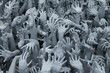 canvas print picture - Pleading Hands Rise Up from Hell a park of Wat Rong Khun in the northern part of Thailand