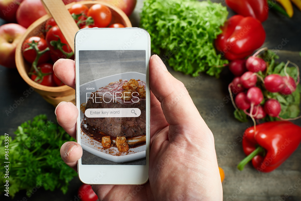 Fototapety, obrazy: Food recipes on smart phone