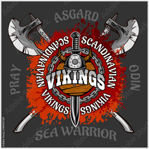 Viking emblem and logos plus isolated elements for custom designs Poster