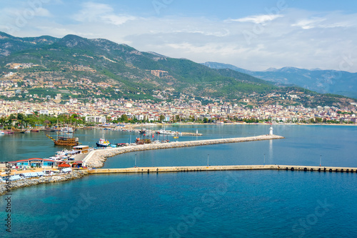 Photo Stands Egypt Cruise ships in Alanya harbor and lighthouse, Turkey
