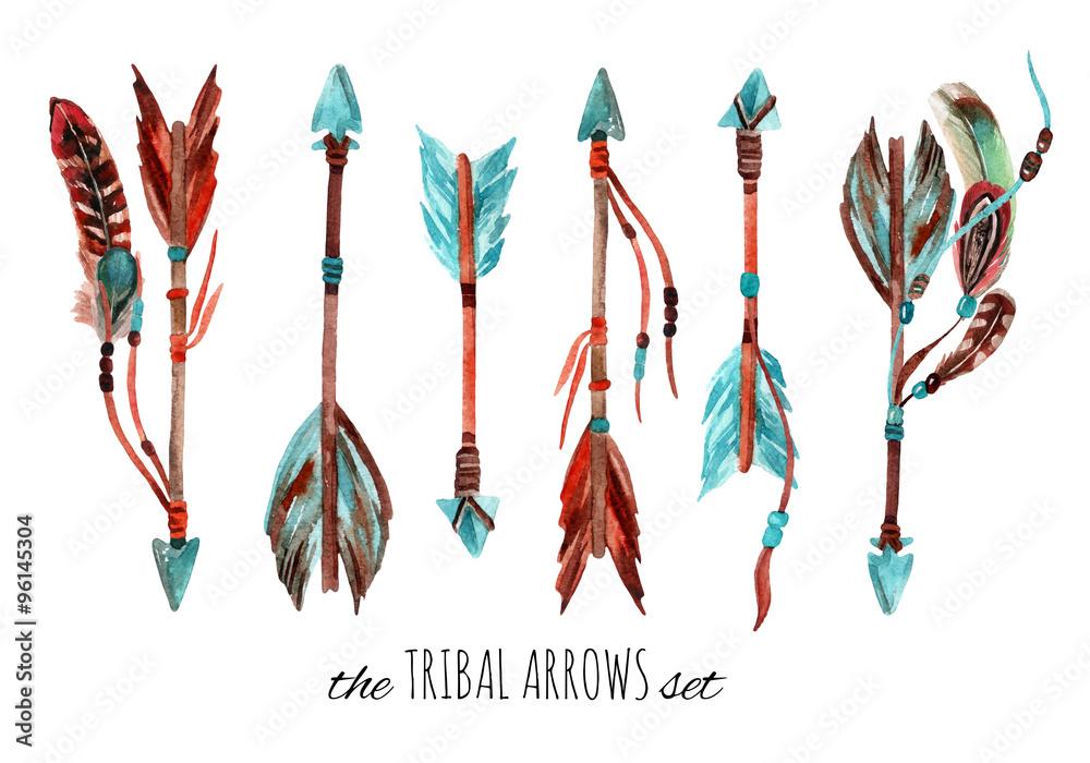 Watercolor tribal arrows.
