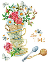 Watercolor Tea Cups Background...