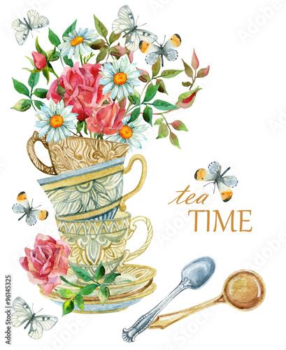akwareli-herbacianych-filizanek-tlo-z-lyzka-kwiatami-i-motylem
