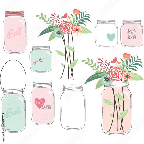 Fényképezés  Wedding Flower with Mason Jar
