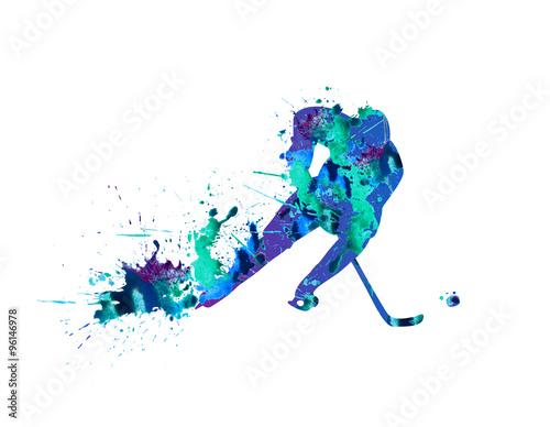 Hockey player. Spray paint on a white background Poster