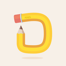 D Letter Formed By Pencil.
