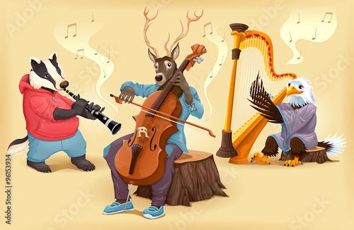 Poster Chambre d enfant Musician cartoon animals