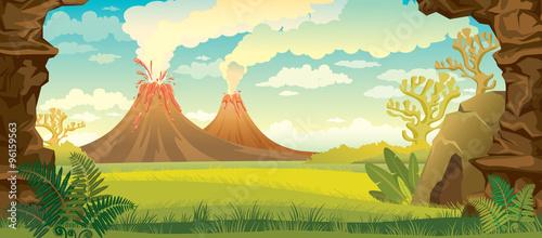Fotografía Prehistoric landscape with volcanoes.