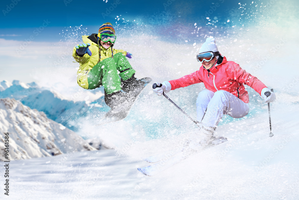 Fotografía skier and snowboarder