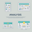 Business analysis background with smartphone and line art icons responsive design. Presentation graphs, charts on screen