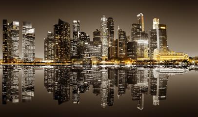 FototapetaSingapore downtown night view