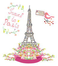 Travel To Paris Cute Poster Wi...