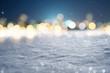 Leinwanddruck Bild - Snowy Background with Bokeh Lights