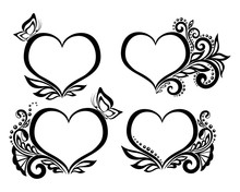 Set Of Beautiful Black-and-white Symbol Of A Heart With Floral Design And Butterfly.