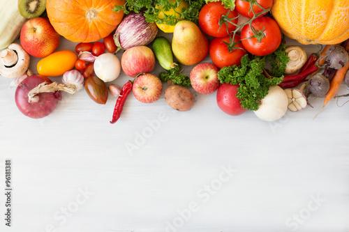 Foto op Plexiglas Groenten Huge group of fresh vegetables and fruits.
