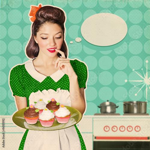 mloda-wesola-radosna-kobieta-trzyma-slodkie-babeczki-retro-plakat-piekarnia-tlo
