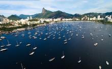 Aerial View Of Guanabara Bay In Rio De Janeiro, Brazil.