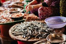 Raw Fish Sliced And Cut At Street Market