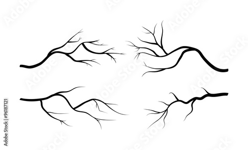 Fotografie, Tablou branch silhouette icon set, symbol, design