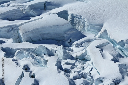 Valokuva  Large crevasses and seracs on the Aletsch Glacier