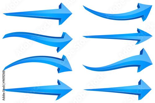 Fotografía  Set of Blue 3D Arrows
