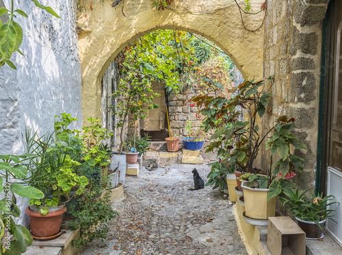 Fototapeta Średniowieczne uliczki starego miasta na Rodos ścienna