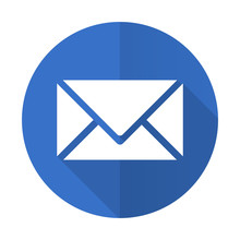 Email Blue Flat Desgn Icon With Shadow On White Background