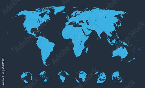 Detailed world map blue with globe icons buy this stock vector and detailed world map blue with globe icons gumiabroncs Gallery