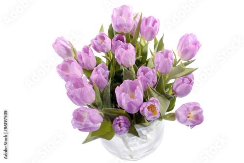 Photo Stands Tulip grote bos paars roze tulpen in een glazen vaas