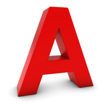 Red 3D Uppercase Letter A Isolated On White With Shadows