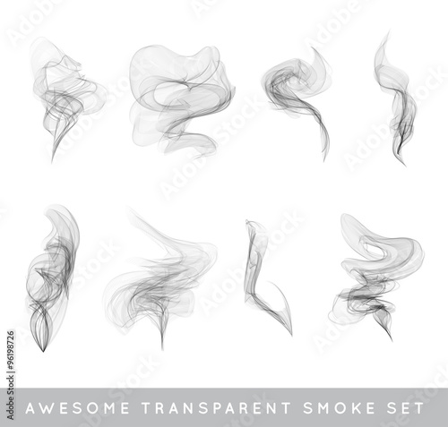 Foto op Plexiglas Rook Vector Collection or Set of Realistic Cigarette Smoke or Fog or Haze with Transparency Isolated can be used with any Background