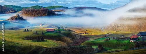 Rural mountain landscape in autumn morning - Fundatura Ponorului, Romania
