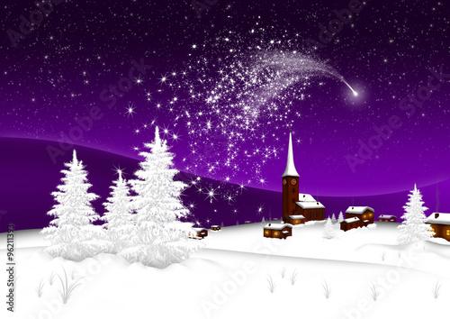 Verschneite Weihnachtsbilder.Weihnachtskarte Winterlandschaft Mit Bergdorf Schnee Neuschnee