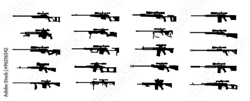 Fotografie, Obraz Modern sniper rifles set. Vector EPS10.
