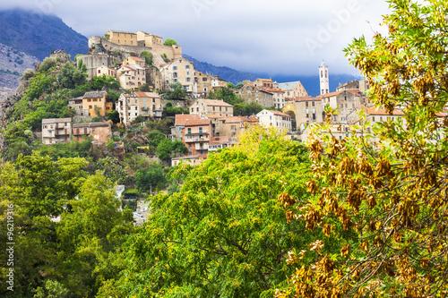 Fotografie, Obraz  Corte - impressive medieval town in Corsica, France