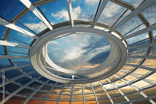 Fotografia  sunset over the roof of a futuristic dome