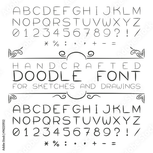 Fotografie, Obraz  Vector font or alphabet in doodle style with numerals and punctuation marks