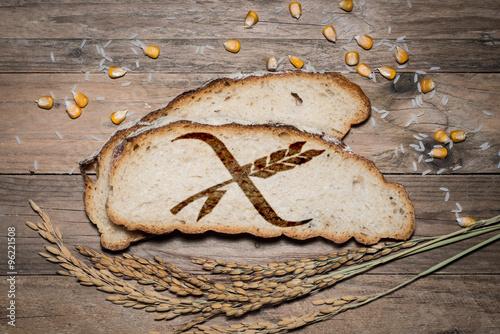 Plakat Bezglutenowe logo z grilla na chlebie