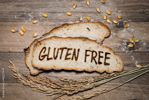 Gluten free logo grilled on bread - 96221949