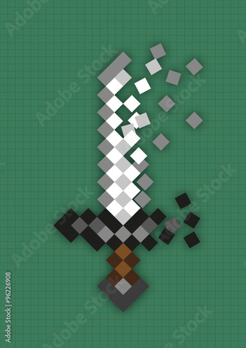 Pixel sword used in computer games Wallpaper Mural