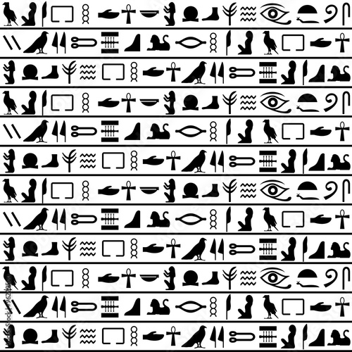 Ancient egyptian vector seamless horizontal pattern with hieroglyphs Fototapeta