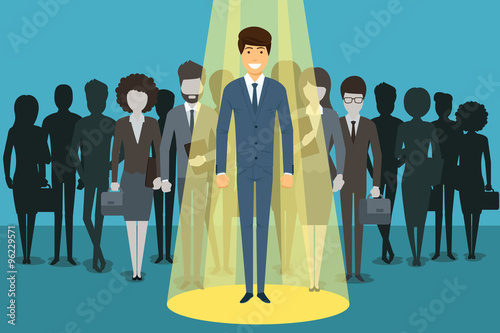 Fotobehang Licht, schaduw Businessman in spotlight. Human resource recruitment vector concept background