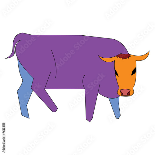 Fotografía  Isolated abstract and colorful bull cartoon - Vector and illustration