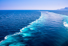 The Wake Of A Boat As Seen From The Stern Of A Ship On Mediterranean Sea
