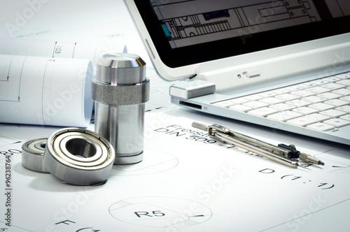 Fototapeta  Konstruktionsbüro für den Maschinenbau, technische Hilfsmittel