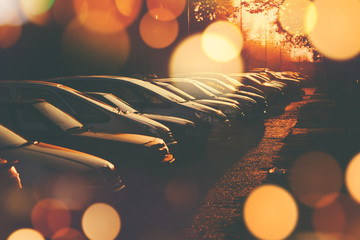 Rows of cars parked in residential district