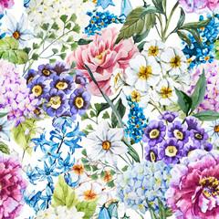 Panel Szklany Podświetlane Inspiracje na lato Watercolor floral pattern