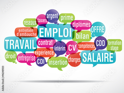 Fototapety, obrazy: nuage de mots : travail emploi salaire