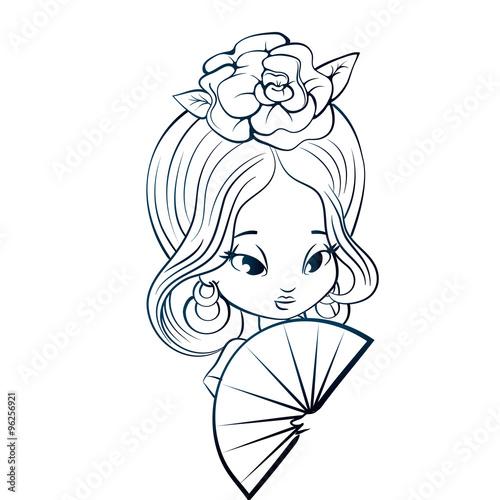 Photo  Latin Spanish Cute chibi cartoon girl