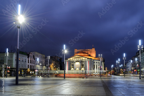 Wyspianski Theatre on the central square of the Katowice, and th